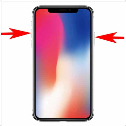 Press Slide Button and Volume UP button to take screen shot on iPhone X