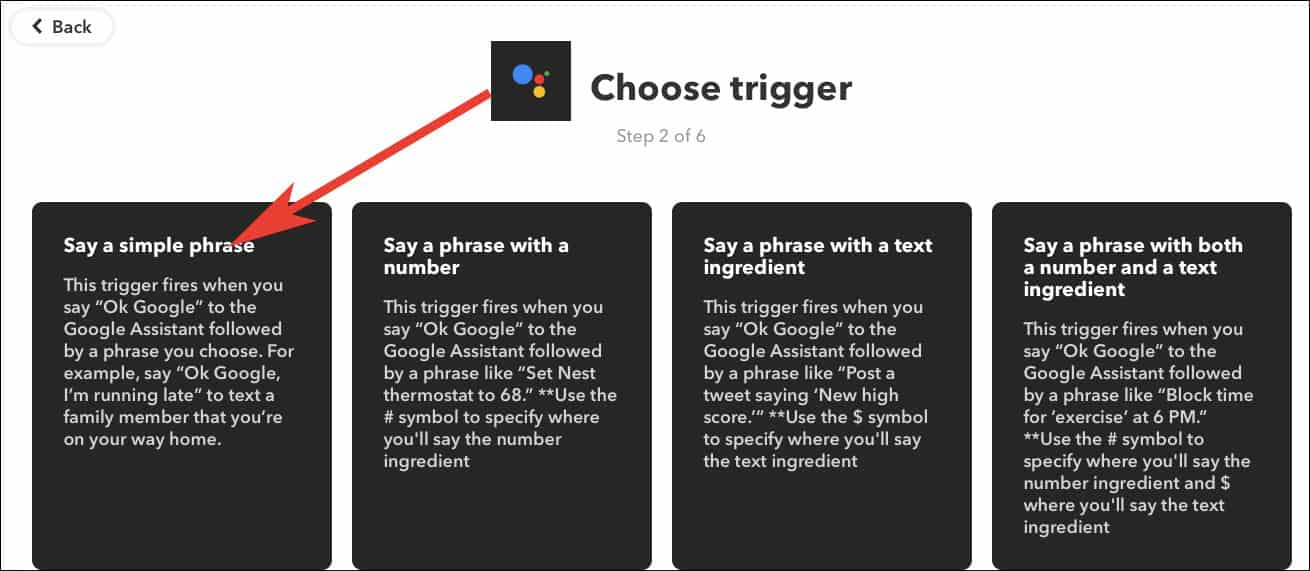 Select Trigger Action