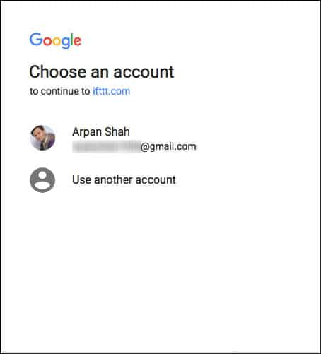 Select email id connected with Google home