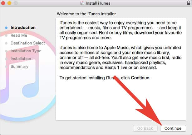 Click on Continue to get missing App Store in iTunes