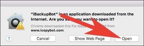 Click on Open button to Open iBackupbot on Mac
