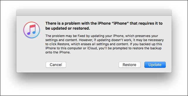Click on Update to Restore or Update iPhone