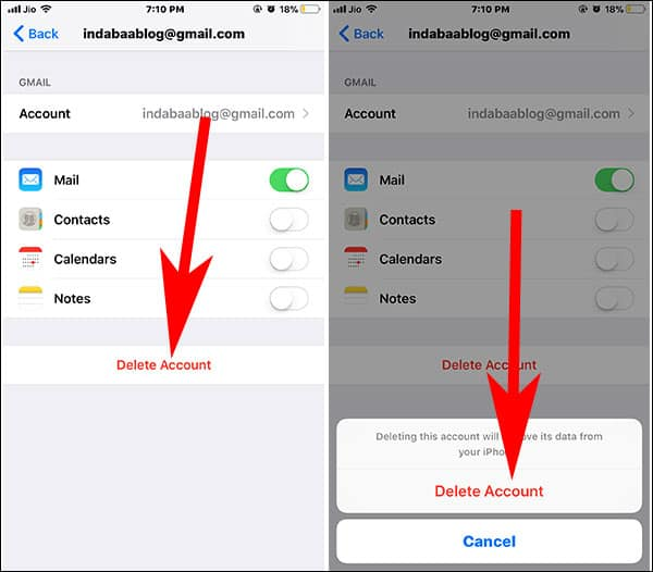 Delete Email Account from iPhone or iPad