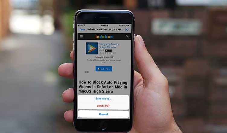 How to Save Webpage as PDF on iPhone or iPad in iOS11 Safari