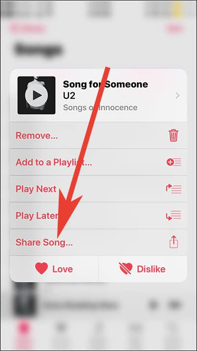 Long Press on Song to Use 3D Share and tap on Share Song from Apple Music