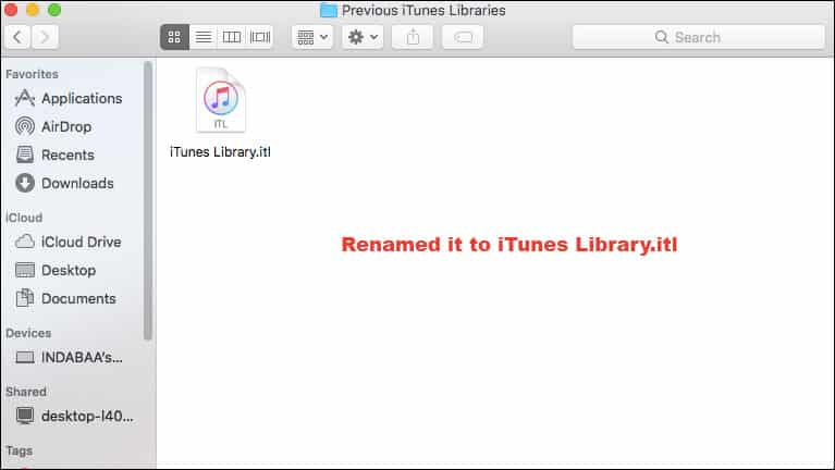 Rename it to iTunes Library.itl
