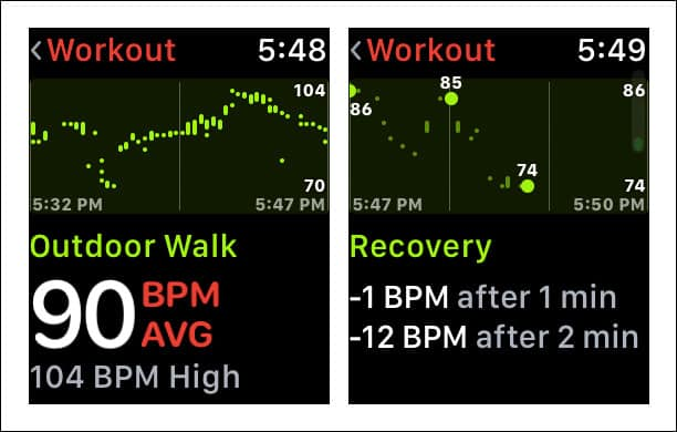 Check Heart Rate Recovery Time on Apple Watch