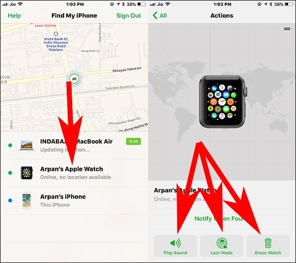 Choose Apple Watch Device and Select your action from Play Sound, Lost Mode and Erase Data
