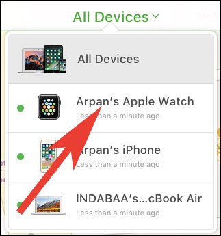 Choose Apple Watch as a device to locate it