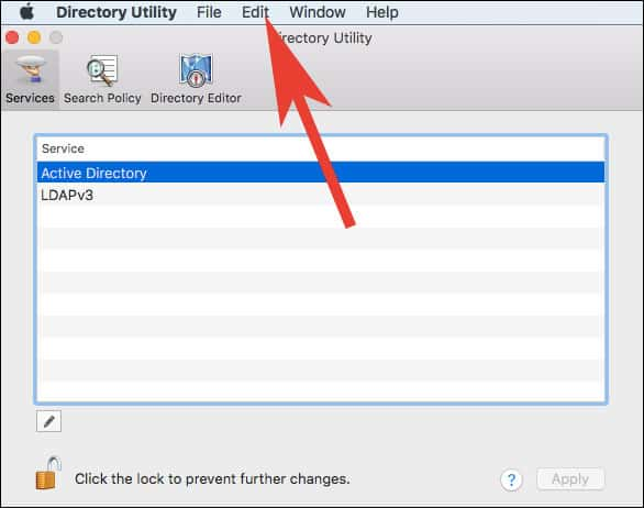 Click on Edit from Menu in Directory Utility