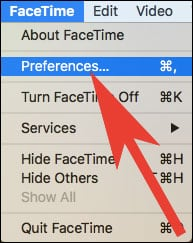 Click on Preferences from FaceTime Menu on Mac