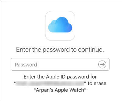 Enter Apple ID Password to Start Deleting Apple Watch Data