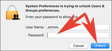 Enter Mac Password to Unlock System Preferences
