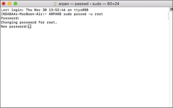 Enter New Root User Password from Terminal in Mac