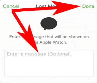 Enter the Message to get flashed on Lost Apple Watch Screen