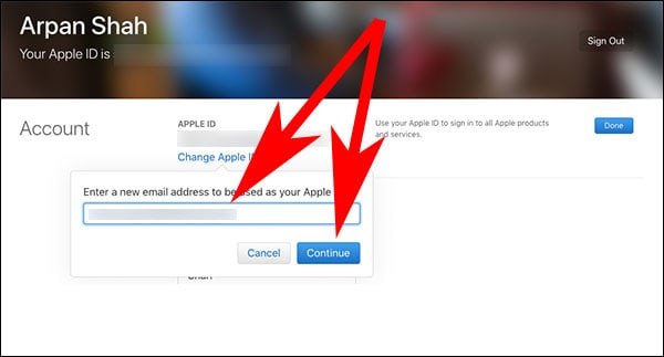 Enter to New Apple ID with Apple Domain and Click on Continue