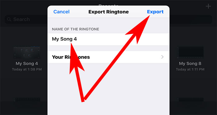 Give a Proper Ringtone Name and Tap on Export