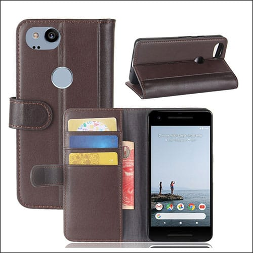 Mangix Genuine Leather Wallet Card Slots for Pixel 2 Phone