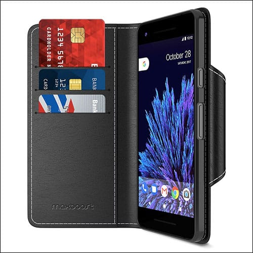 Maxboost Protective PU Leather Flip Google Pixel 2 Cover with Card Slot