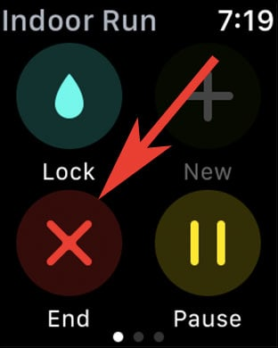 Once done tap on End button in Workout App on Apple Watch