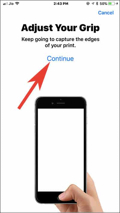 Adjust Your Grip and Start registering your print edges on iPhone
