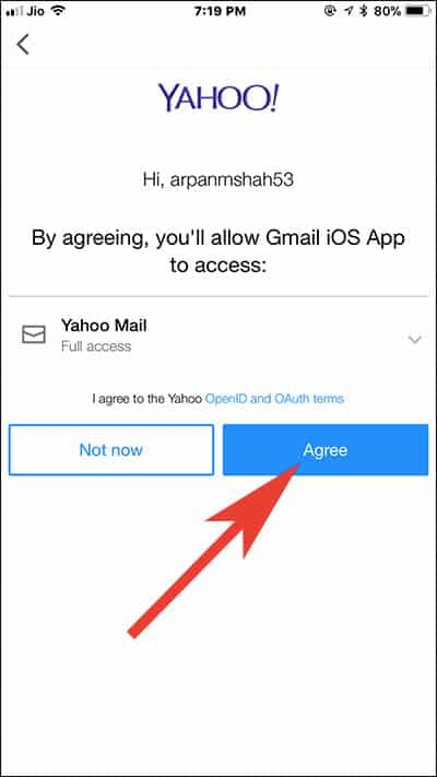 Allow Gmail App to access your third Party Email Account on iPhone and iPad