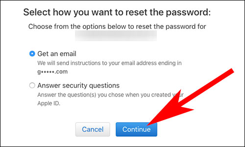 Choose Apple ID Password Reset Method