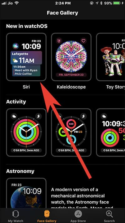 Choose Siri Watch Face in Watch App on iPhone