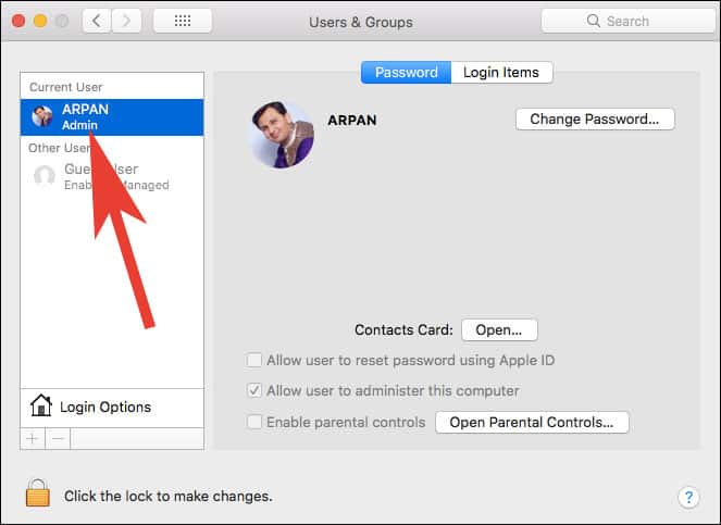 Click On User Account of whom you want to change password on Mac