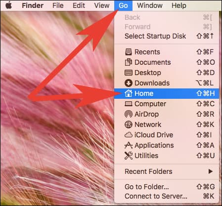 Click on Go Menu from Finder and then choose home on Mac