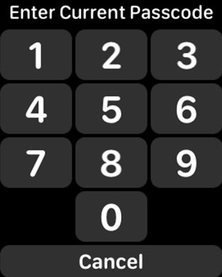 Enter Current Passcode on Apple Watch