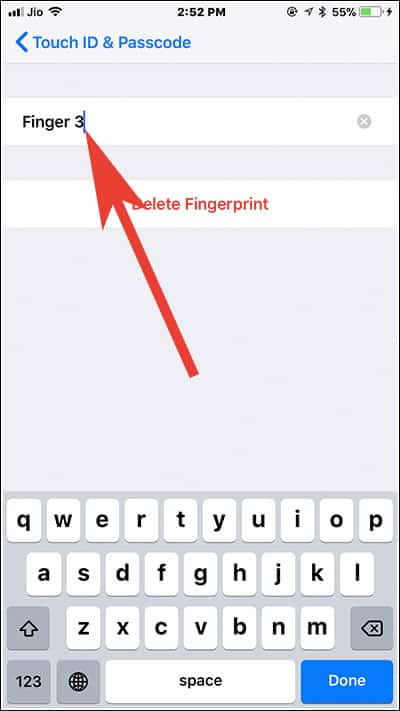 Enter the label name of finger number on iPhone