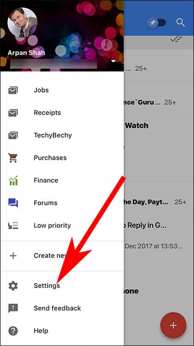 Go to Settings in Gmail App on iPhone