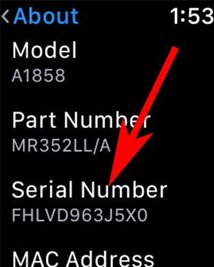 Here you will See Apple Watch Serial Number or IMEI