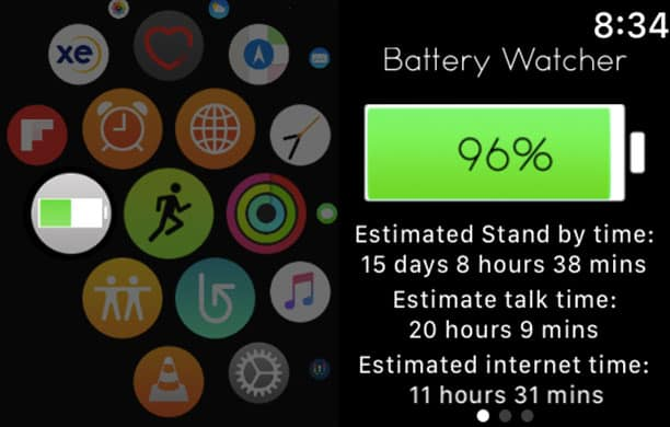 Open Battery Watcher App on Apple Watch to Check iPhone Battery Directly from Apple Watch