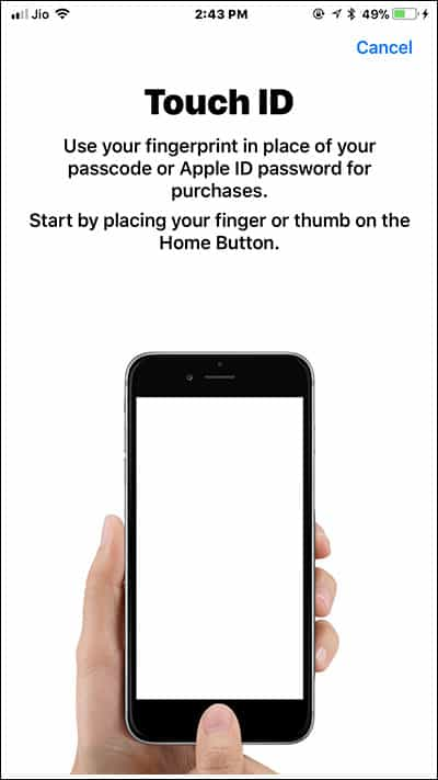 Place your Finger gently on iPhone Home Button to Setup Touch ID