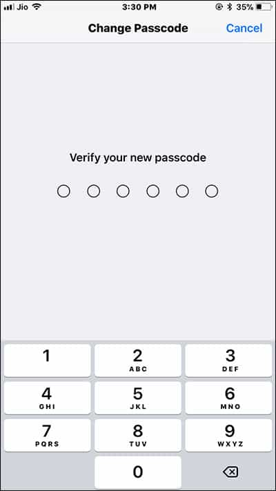 Re-enter New Passcode on iPhone and iPad