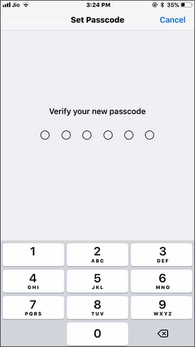 Re-enter Six digit iPhone Password to Verify