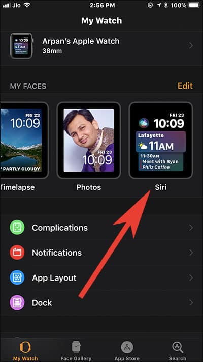 Select Siri Watch Face in Watch App on iPhone