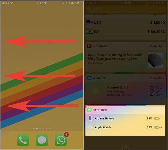 Swipe Left to Right from iPhone home screen to check Apple Watch Battery Life on Paired iPhone