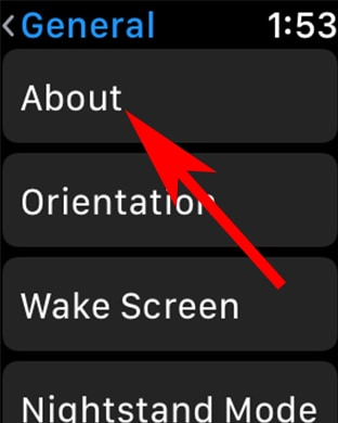 Tap on About in Apple watch Settings