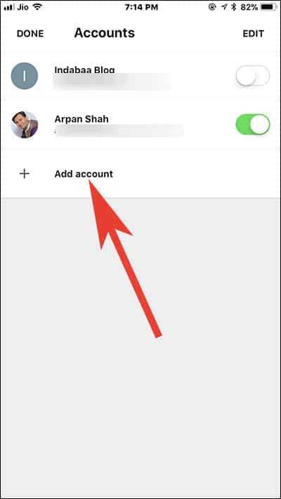Tap on Add Account in Gmail App on iPhone and iPad