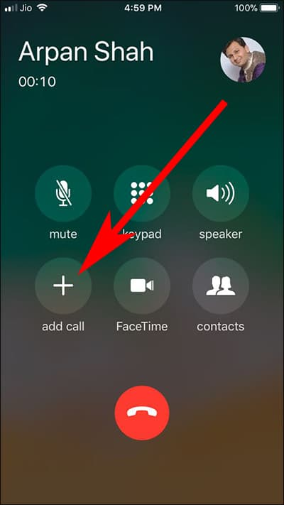 Tap on Add Call on iPhone