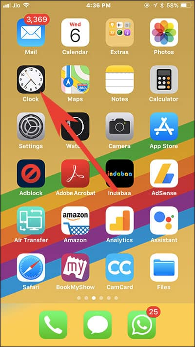 Tap on Alarm App on iPhone
