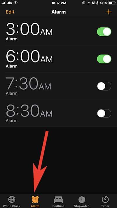Tap on Alarm Tab in iPhone Alarm App