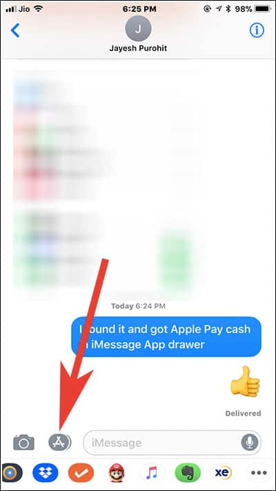Tap on App Store icon in iMessage on iPhone