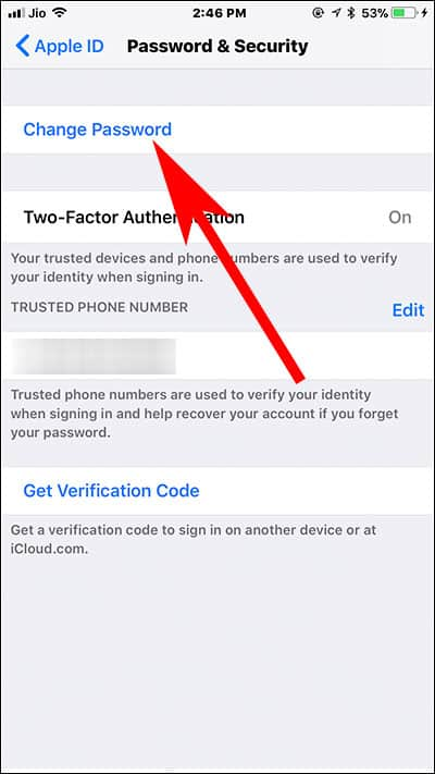 Tap on Change Password on iPhone and iPad