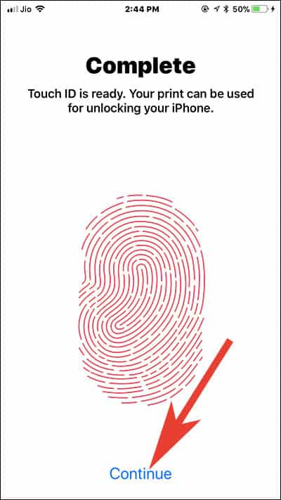 Tap on Continue and Use your Fingerprint to Unlock your iPhone