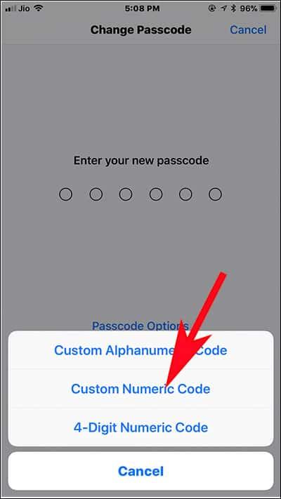 Tap on Custom numeric Code on iPhone and iPad