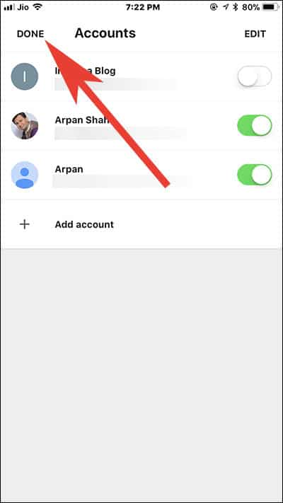 Tap on Done and manage non Google Account in Gmail App on iPhone and iPad